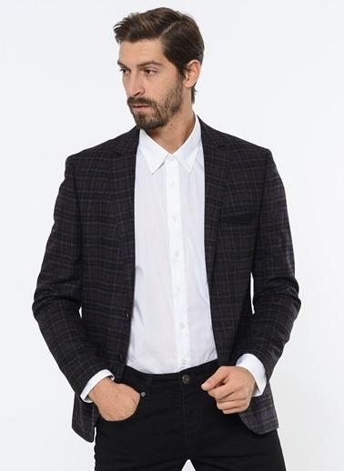 Comienzo Slim Fit Ekose Blazer Ceket Mor